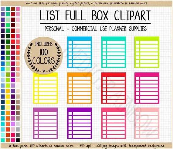 Checklist clipart planner. Sale full box list