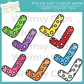 Free polka dot check. Checkmark clipart board