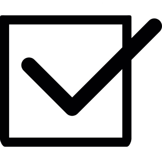 Checkmark clipart in box. Tick with a check