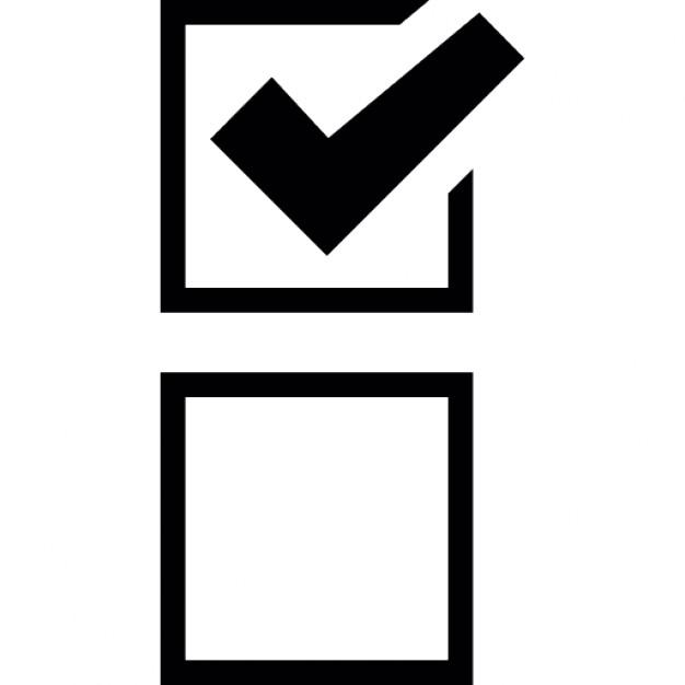 Checkmark clipart in box. Tick with check mark