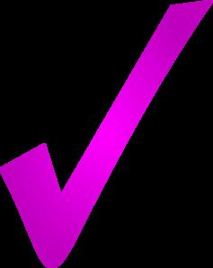 Pink gradient check mark. Checkmark clipart purple