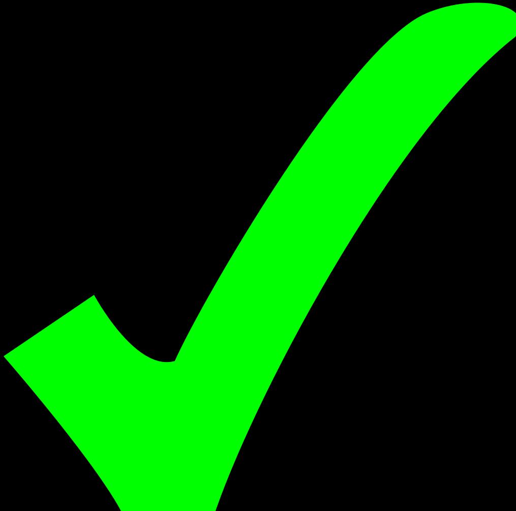 Checkmark clipart specification. Bright green check mark