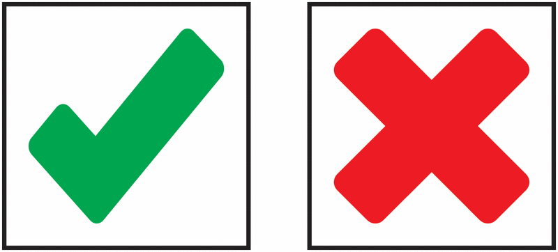 Colour coded indicator labels. Checkmark clipart specification