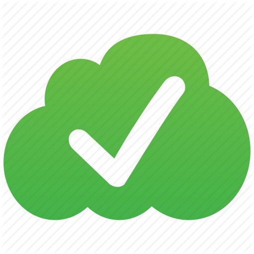 Color svg cloud icons. Checkmark clipart validation