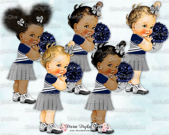 Cheer clipart baby. Cheerleader gray blue uniform