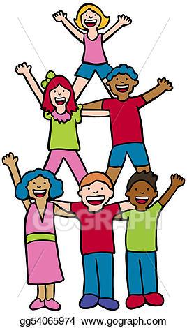 Cheer clipart child. Vector art pyramid children