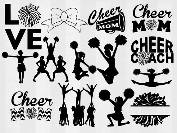 Cheerleader svg bundle cut. Cheer clipart clothes