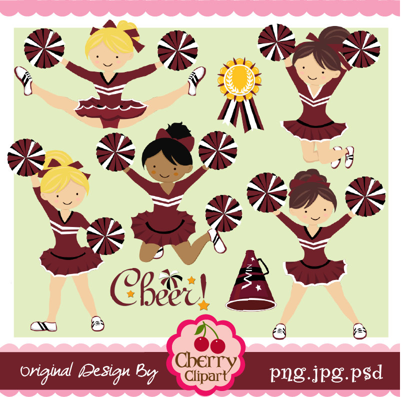 Cheer clipart cute. Maroon black and white