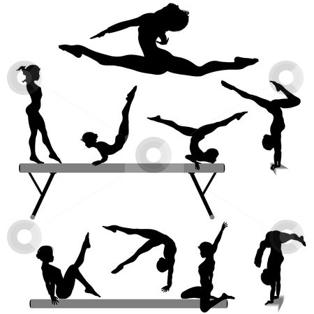 Cheer clipart gymnast. Free printable gymnastic silhouettes