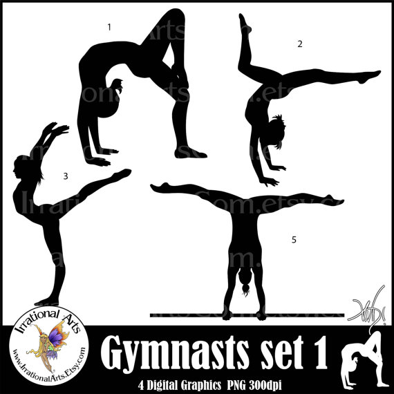 Cheer clipart gymnast. Female gymnasts silhouettes sets