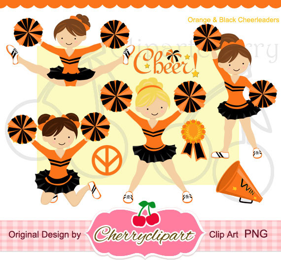 Cheer clipart orange. Cheerleader