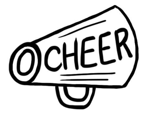 Cheer clipart outline. Black and white free