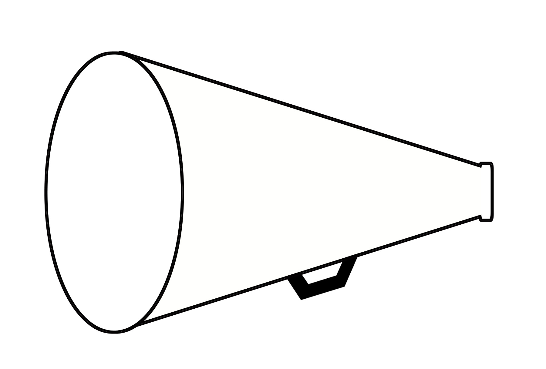 Megaphone black and white. Cheer clipart outline