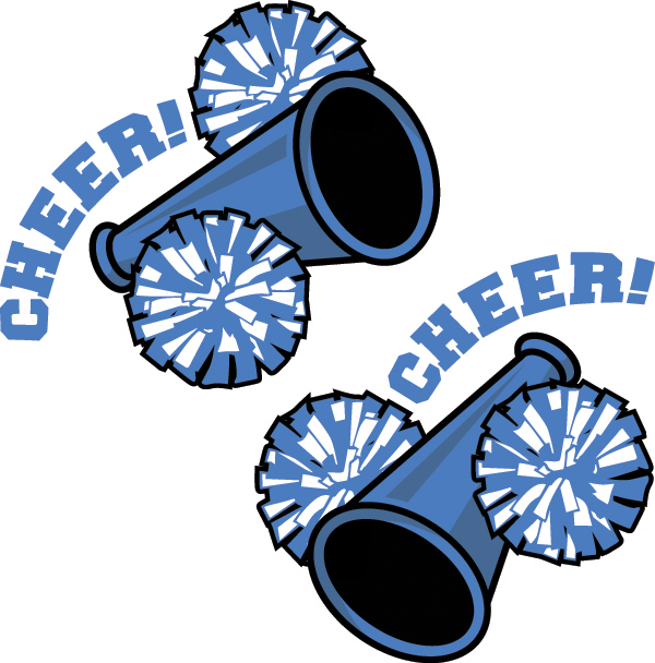 Blue and gold cheerleading. Cheer clipart pom pom