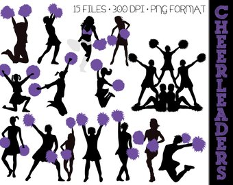 Cheering etsy cheerleader silhouettes. Cheer clipart purple