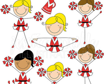 Cheerleader stick figures cute. Cheer clipart red