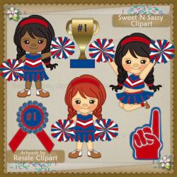 Lil cheerleaders . Cheerleader clipart red blue