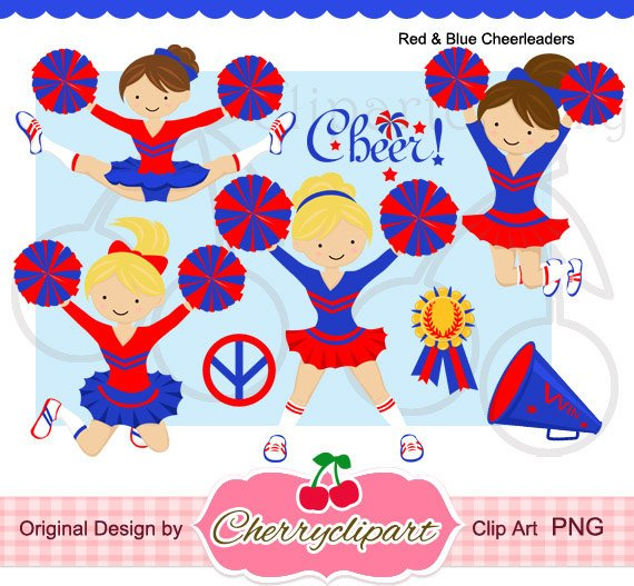 Digital set for personal. Cheerleader clipart red blue