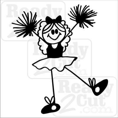 Girl cheerleader vinyl ready. Cheer clipart stick figure