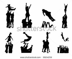 Cheer clipart stunt. Cheerleader silhouettes set with