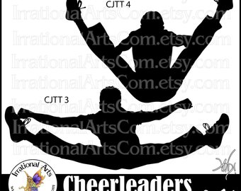 Jump etsy cheerleader silhouettes. Cheer clipart toe touch