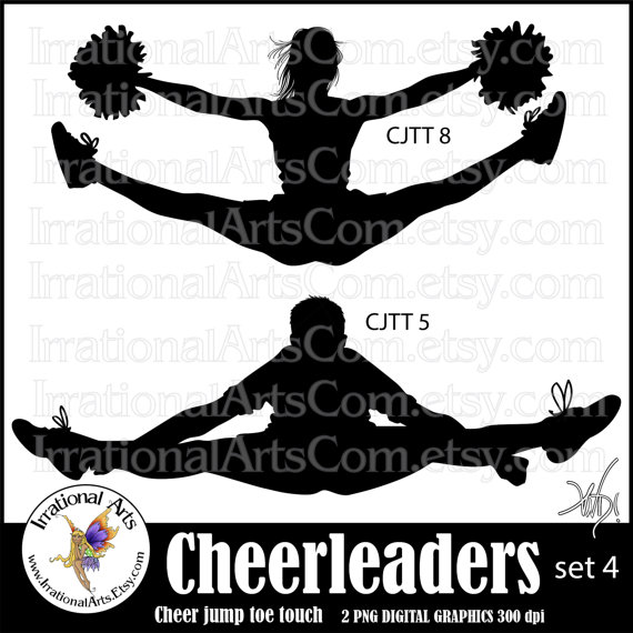 Cheerleader jump silhouettes set. Cheer clipart toe touch