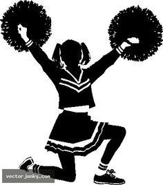 Cheerleaders cheering silhouette ideas. Cheer clipart vector