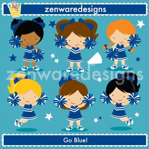 Blue white cheerleaders cute. Cheer clipart vintage