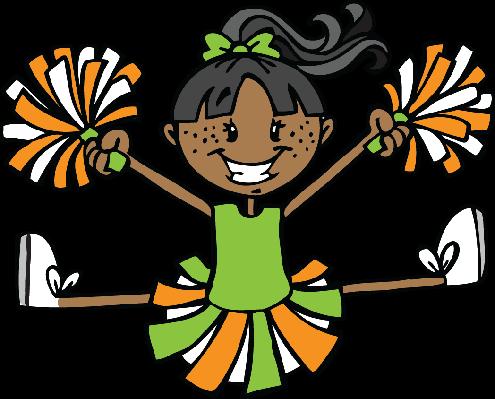 Cheerleading clipart green. Cheerleader and orange the