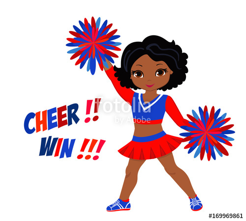 Cheerleader clipart red blue. In uniform with pom