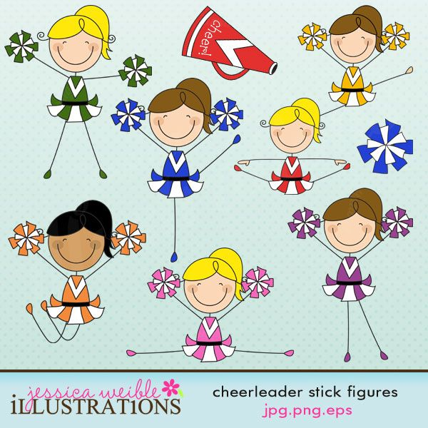 Cheer clipart stick figure. This cute cheerleader set