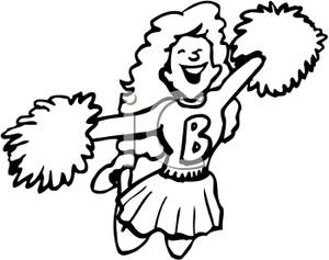 Cheer clipart black and white. Clip art image cheerleader