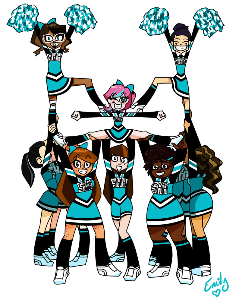 Cheer clipart group. Cheerleaders by emily ree
