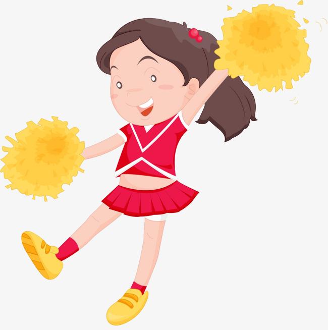 Cheerleader girl cartoon cheerleaders. Cheer clipart child