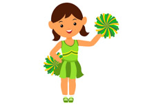 Free clip art pictures. Cheerleading clipart green