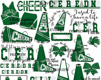 Cheer more colors gold. Cheerleading clipart green