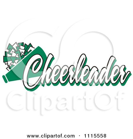 Cheerleader text with a. Cheerleading clipart green