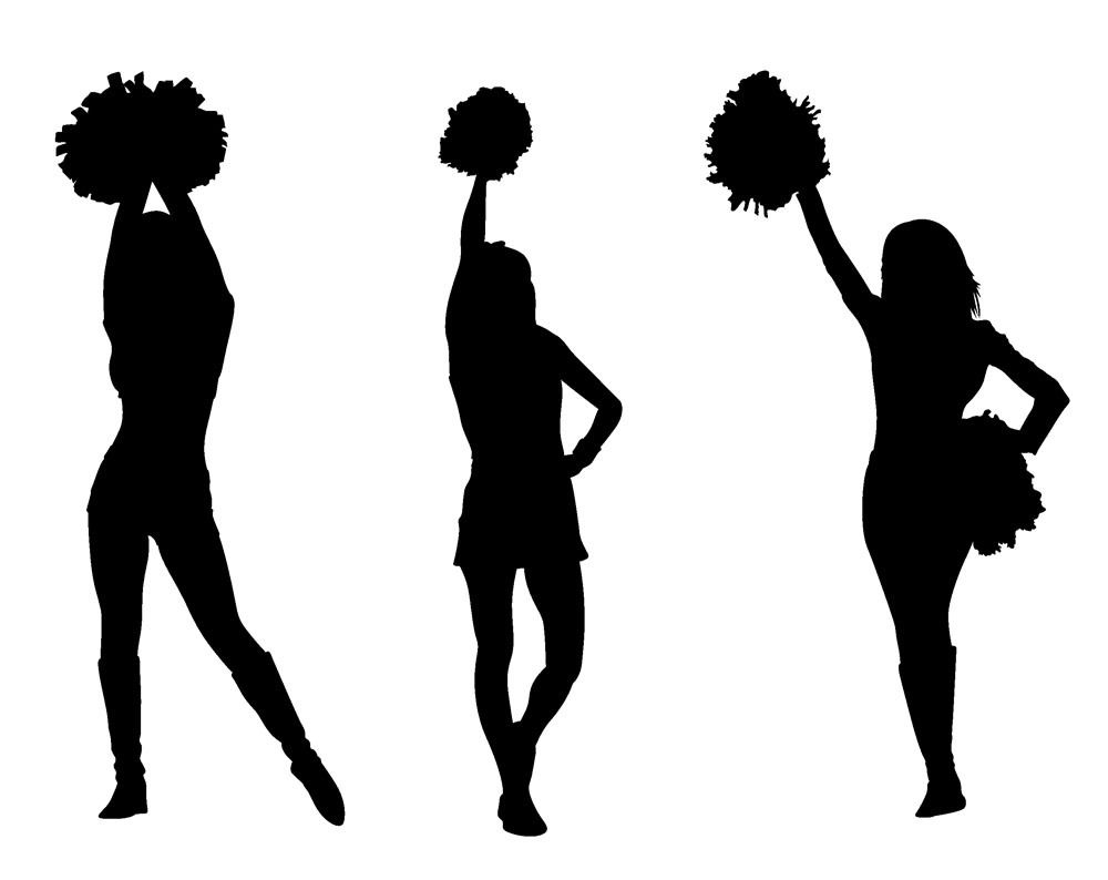Cheerleading silhouette images at. Cheer clipart vector