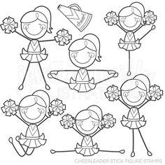 Pink cheerleader t shirts. Cheer clipart stick figure