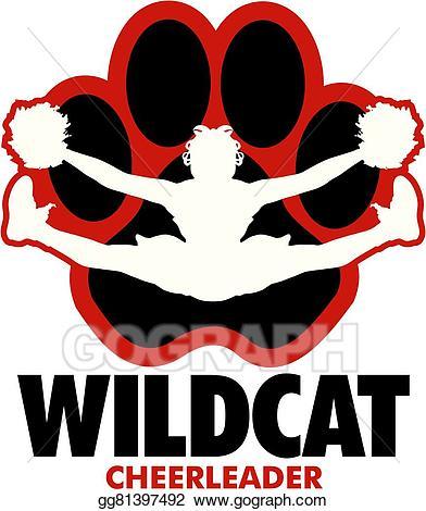 Wildcat clipart cheer. Vector stock cheerleader illustration