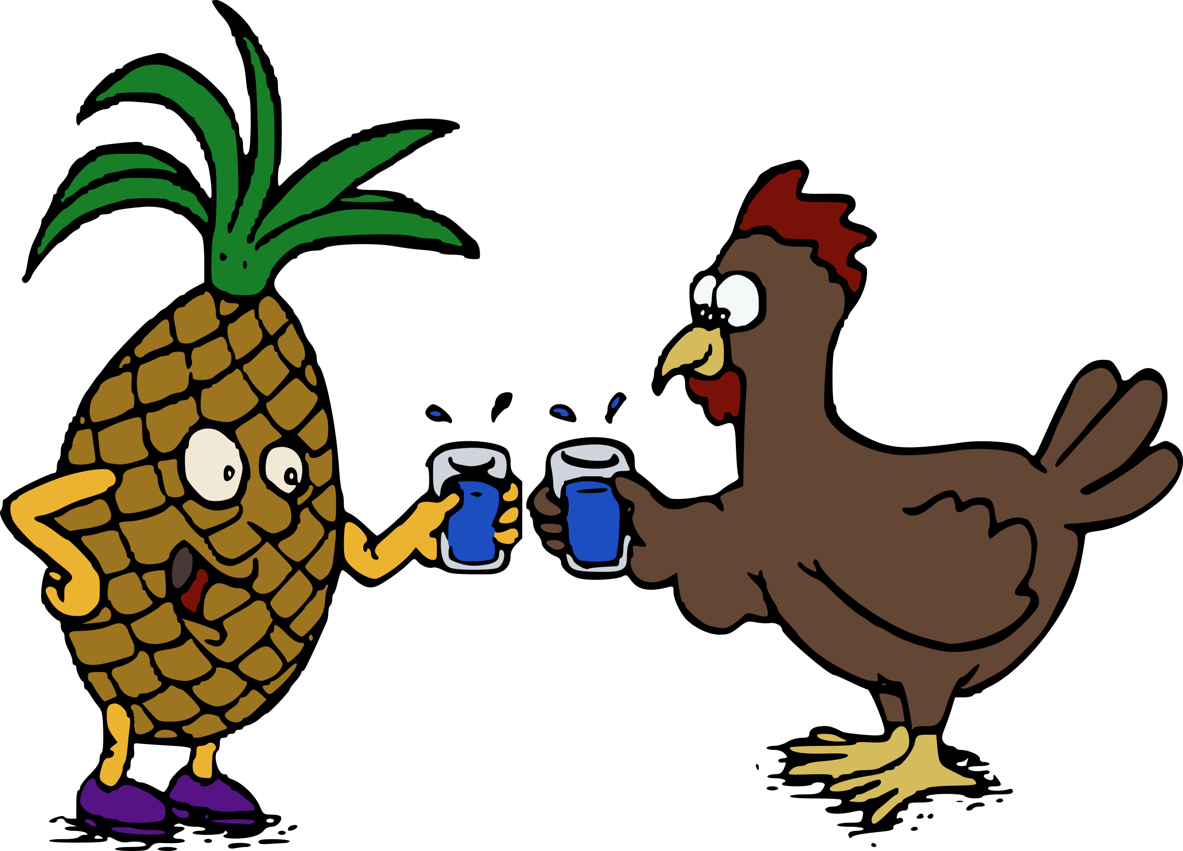 Pineapple and chicken cheers. Drinks clipart cheer