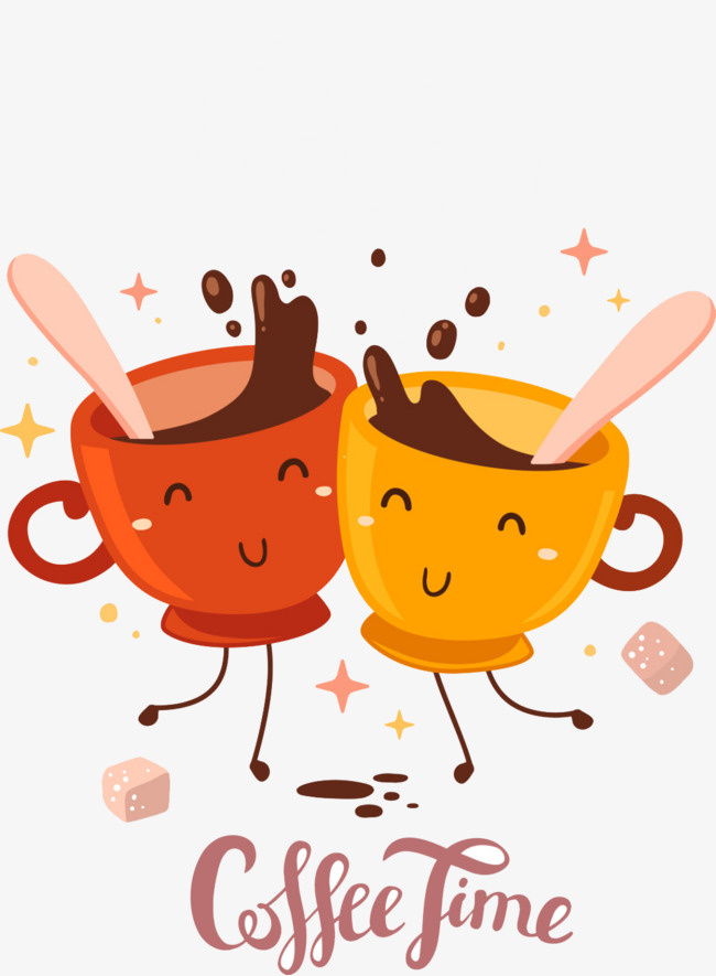 Cartoon cups of to. Cheers clipart coffee