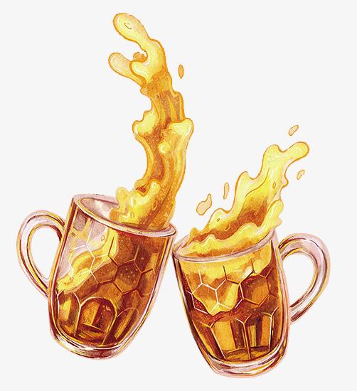 Cheers clipart coffee. Painted beer brown hand