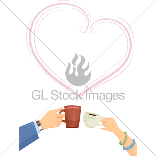 Hands couple heart gl. Cheers clipart coffee