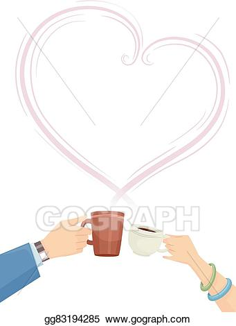 Vector hands couple heart. Cheers clipart coffee