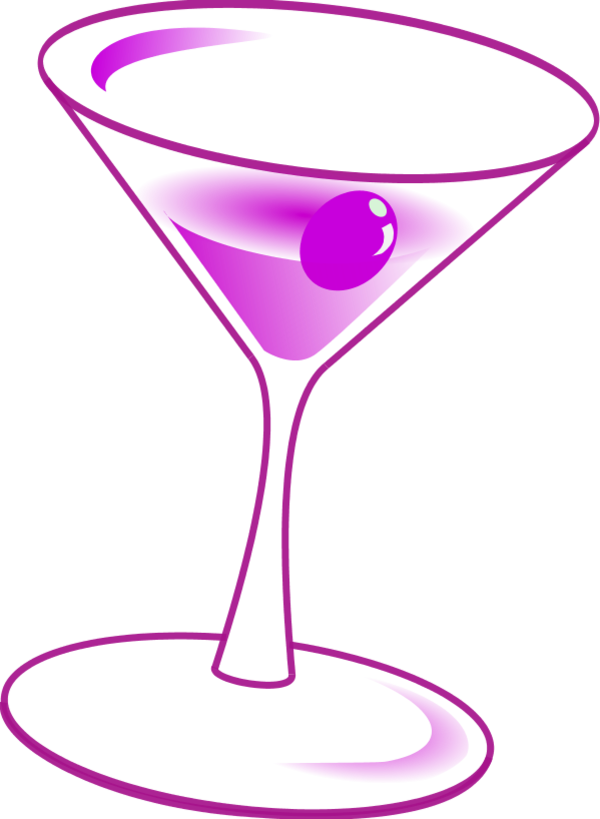 Martini glass wine glasses. Cocktails clipart royalty free