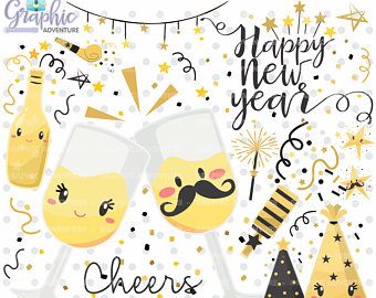 Cilpart fancy design etsy. Cheers clipart new year