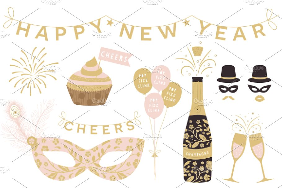 Year cliparts eps png. Cheers clipart new years eve