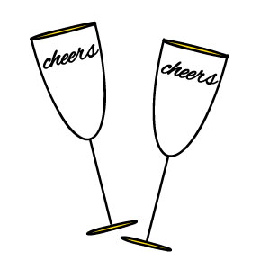 collection of black. Cheers clipart wine glass
