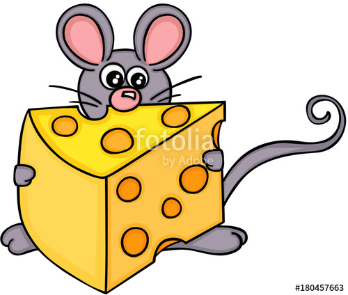 Cheese clipart cheese cube. Cute mouse with slice